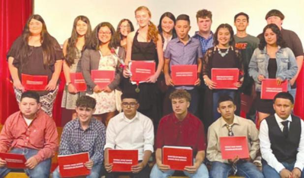 Eighteen Rocksprings Junior High students