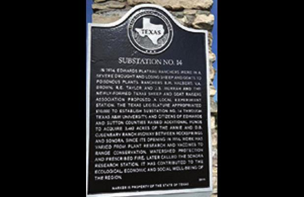 Historical marker dedicated to the Texas A&M AgriLife Research Station Sonora